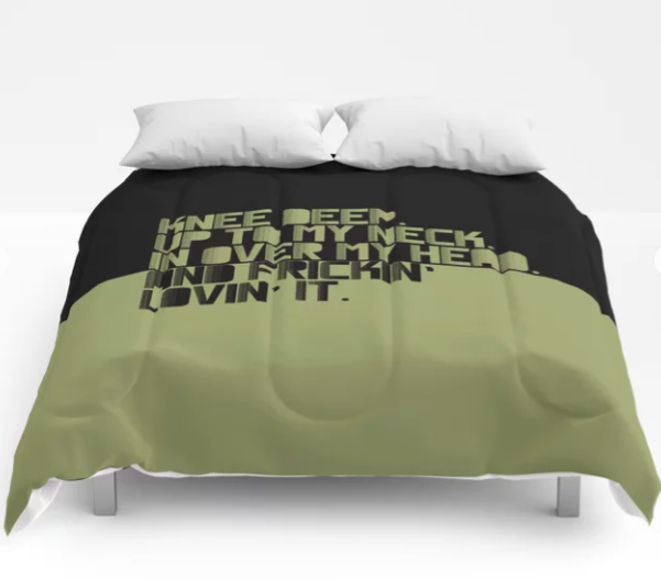 COMFORTER UP TO MY NECK. GREEN