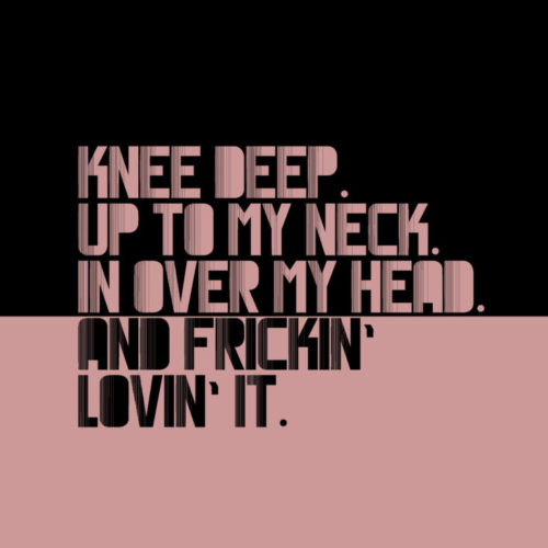 Knee Deep. Up To My Neck. In Over My Head. And Frickin' Lovin' it. PINK