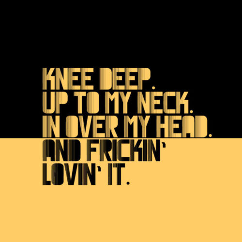 Knee Deep. Up To My Neck. In Over My Head. And Frickin' Lovin' it. YELLOW