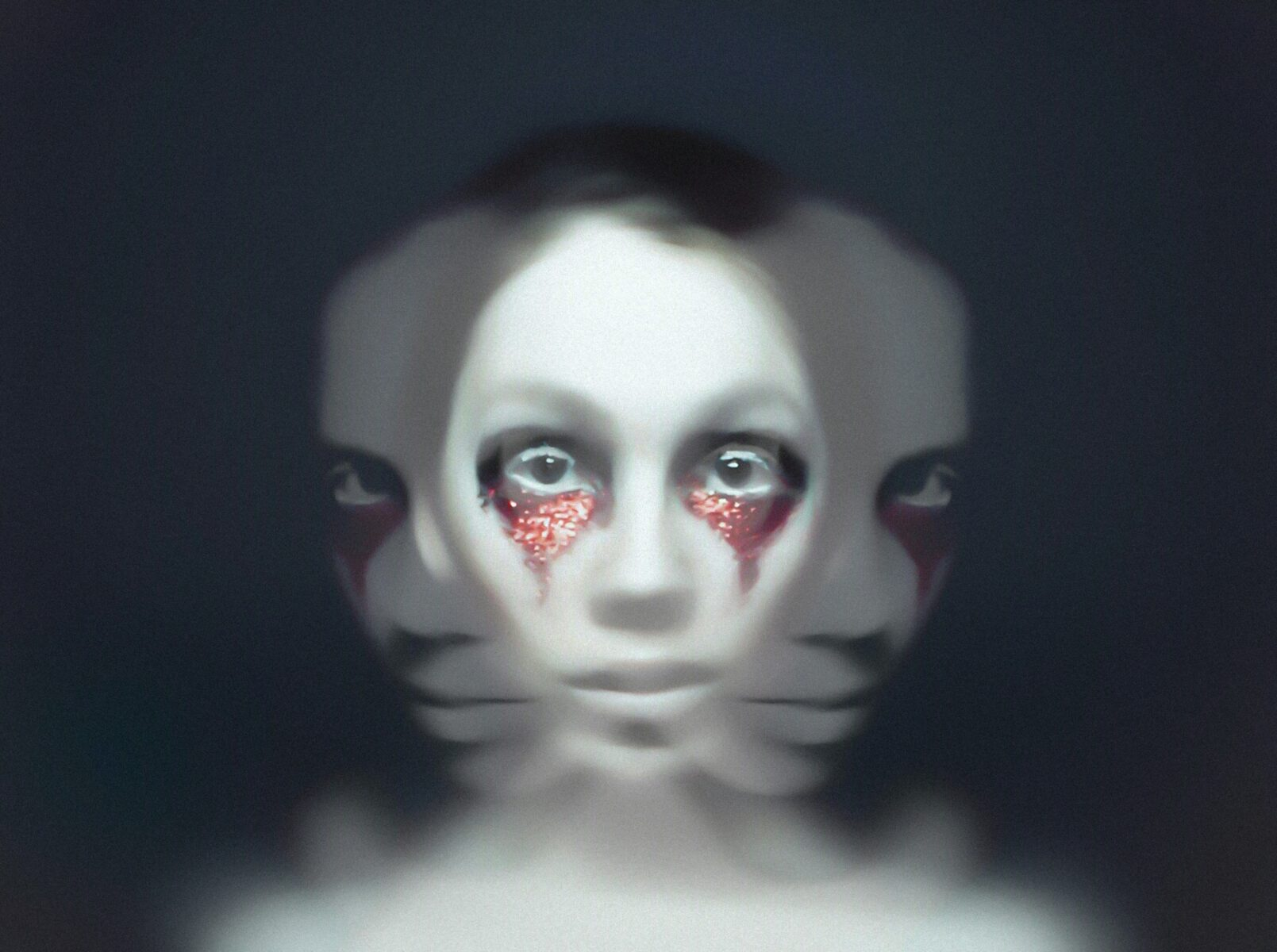 Rejecting your emotions - woman's painted face